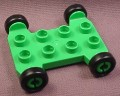 Lego Duplo 42092CX1 Bright Green Vehicle Base, 4x4 with 2x4 Studs, Black Wheels, Racing