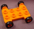 Lego Duplo 42092CX1 Orange Vehicle Base, 4x4 with 2x4 Studs, Black Wheels, Bob The Builder