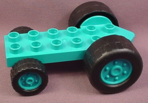 Lego Duplo 40635CX1 Teal Tractor Vehicle Base with 2 Large & 2 Small Black Wheels