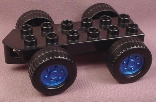 Lego Duplo 54007CX2 Black Vehicle Car Base That Wobbles Side to Side, 2x6 with Hitch & 4 Wheels