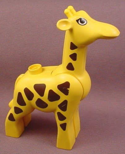 Lego Duplo 2259CX1 Yellow Adult Giraffe Animal with Jointed Neck & Brown Spots & Eyes Pattern