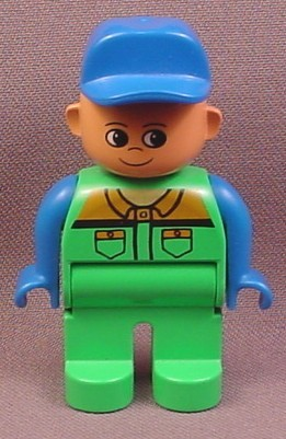 Lego Duplo 4555CX85 Male Articulated Figure with Blue Hat & Green Coveralls Pockets Pattern