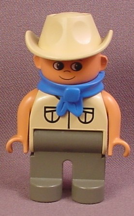 Lego Duplo 4555CX12 Male Articulated Figure with Tan Shirt & Safari Hat, Dark Gray Legs