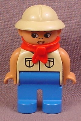 Lego Duplo 4555CX11 Male Articulated Figure with Tan Shirt & Pith Helmet Hat, Blue Legs