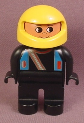 Lego Duplo 4555CX107 Male Articulated Figure with Yellow Helmet & Black Racing Suit