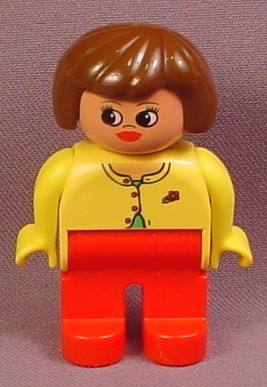 Lego Duplo 4555CX022 Female Articulated Figure with Yellow Sweater & Red Pants, Brown Hair