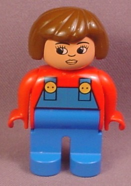 Lego Duplo 4555CX4 Female Articulated Figure with Blue Coveralls & Red Arms, Brown Hair, Safari