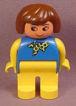 Lego Duplo 4555CX159 Female Articulated Figure with Blue Shirt with Yellow Scarf & Legs
