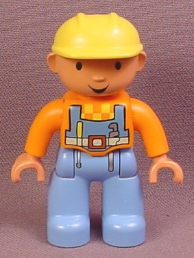 Lego Duplo 47394CX15 Bob The Builder Articulated Figure with Orange Shirt & Light Blue Coveralls