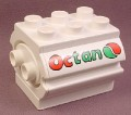 Lego Duplo 6429PX1 3x3x2 Ovoid White Fuel Tank with Groove for Hose and Octan Text Pattern