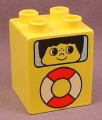 Lego Duplo 31110PX01 Yellow 2x2x2 Brick with Life Preserver & Face in Window Pattern