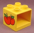 Lego Duplo 4890PX1 Yellow 2x2x1 1/2 Furniture Cabinet with 2 Apples Pattern on 2 Sides