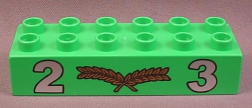 Lego Duplo 2300PX2 Bright Green 2x6 Brick with Silver 2 & 3 Numbers & Gold Laurel Pattern