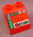 Lego Duplo 6471PX03 Red 45 2x2x1 1/2 Sloped Brick with Octan Logo & Gauges Pattern