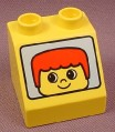 Lego Duplo 6471PX02 Yellow 45 2x2x1 1/2 Sloped Brick with Windshield with Face pattern