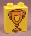 Lego Duplo 4066BAX085 Yellow 1x2x2 Brick with Orange Trophy Cup Pattern