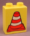 Lego Duplo 4066BPX036 Yellow 1x2x2 Brick with Construction Cone Pattern