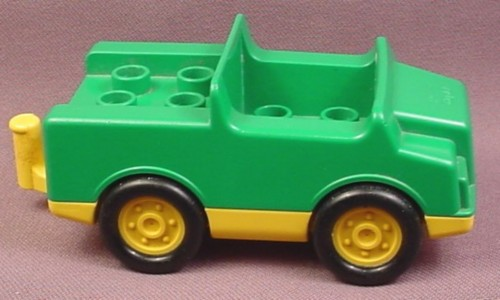 Lego Duplo 2218CX2 Yellow Base Green Top Jeep Truck Car Vehicle with 2x2 Studs & Hitch