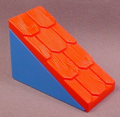 Lego Duplo 2211CX1 45 2x4 Red Shingle Roof with Blue Support