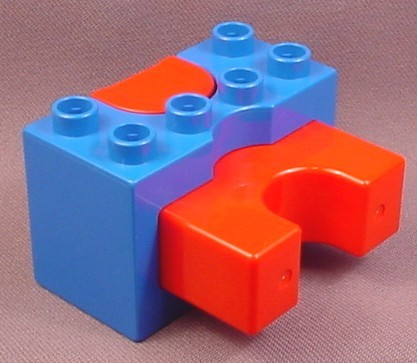Lego Duplo 31080CX1 Blue Vehicle Launcher with Red Prongs & Button, Spring Loaded, Racing