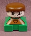 Lego Duplo 2327CX10 Green Short Bust Figure with Brown Overalls & Brown Male Hair, Farm