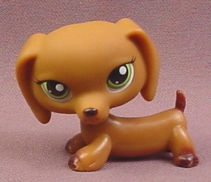 Littlest Pet Shop #139 Chocolate Brown Dachshund Puppy Dog with Green Eyes, 2005 Hasbro