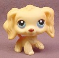 Littlest Pet Shop #91 Tan or Cream Cocker Spaniel Puppy Dog with Blue Eyes, 2005 Hasbro