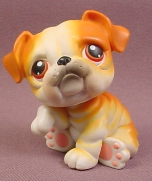 littlest pet shop bulldog littlest pet shop 46 orange brown white english british 2317