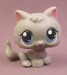 Littlest Pet Shop 66 Gray Baby Kitty Cat Kitten With Blue Eyes Grey Baby Kitten Portable Pets Rons Rescued Treasures