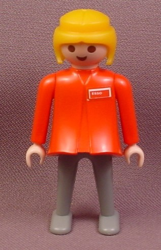 Playmobil Adult Classic Style Female Figure, Blond Hair, Red Shirt with Esso Logo, Gray pants