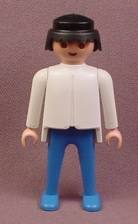 Playmobil Adult Male Classic Style Figure With A White Shirt & Blue Pants,  Black Hair, 3139 3146