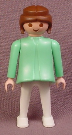 Playmobil Adult Female Doctor Surgeon Nurse Figure, Brown Hair, Mint Green Top Scrubs