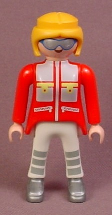 Playmobil Adult Female Arctic Scientist Figure, Blonde Hair, Silver & Blue Sunglasses, Red Arms