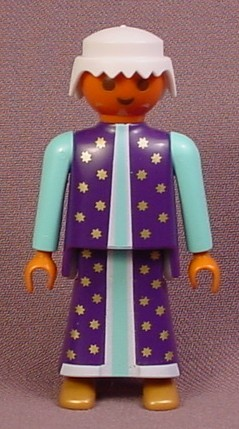 Playmobil Adult Male Magician Or Wizard Figure With Dark Skin Tone, Purple Blue Long Robe