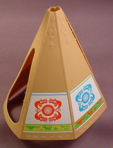 Playmobil Light Brown Tan Beige Tepee Tent Cover With The Native American Indian Design Stickers