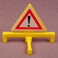 Playmobil Yellow Triangular Sign With A Folding Stand And Warning Stickers, 3160 3166 3181 3182 3289
