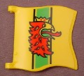 Playmobil Yellow Wavy Square Flag Or Banner With A Red Griffon Pattern And 2 Clips, 3123 3887 5783