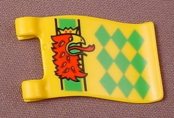 Playmobil Yellow Wavy Rectangular Flag Or Banner With 2 Clips And A Griffon & Diamonds Pattern, 3123