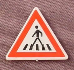 Playmobil White & Red Triangular Pedestrian Crossing Sign With A Clip On The Back, 3256 3259 4043