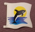 Playmobil White Wavy Square Flag Or Banner With An Orca Or Killer Whale Pattern & 2 Clips, 3865 3916