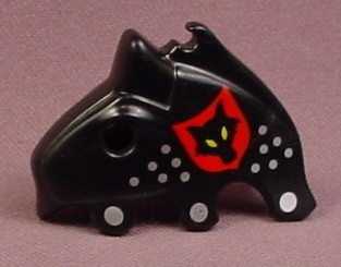 Playmobil Black Horse Head Cover Armor With A Wolf Head On A Shield & Silver Dots Design, 3274