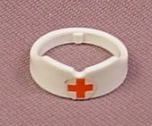 Playmobil White Nurse's Cap with Red Cross on Circlet on the Front, 3237x 7885, Wearable
