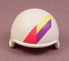 Playmobil White Bobsled Racer Helmet with Pink Yellow & Purple Stripes, 4585, Wearable