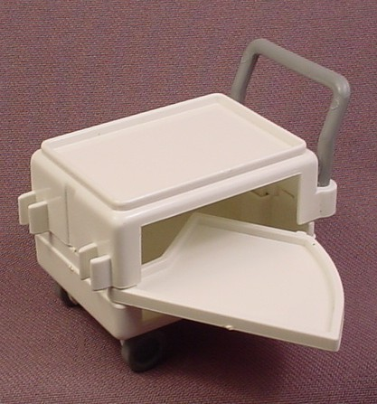 Playmobil White Medical Cart With A Swing Out Shelf And Gray Handle & Wheels, Hospital, Tool Cart