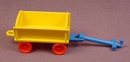Playmobil Yellow Child Size Wagon with Red Wheels & Blue Handle, 3356 3497 3556 3974