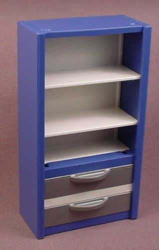 Playmobil Blue & White Wall Unit Shelf with 2 Silver Gray Drawers, 5954 5957 7224, Furniture