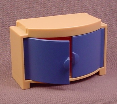 Playmobil Tan or Beige Cabinet with Blue Rounded Doors, Arched Front, 3966 4062, Furniture