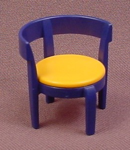 Playmobil Dark Blue Chair With A Round Gold Seat Cushion, Rounded Back, 3968 4055