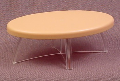 Playmobil Beige Or Tan Oval Modern Table With Clear Base Legs, 2 7/8 Inches Long, 3966 4062