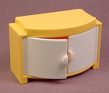 Playmobil Yellow Cabinet with White Rounded Doors, Arched Front, 4286, Furniture